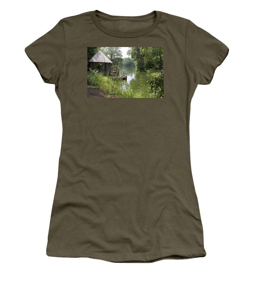 Bass Pond Women's T-Shirt featuring the photograph Bass Pond Biltmore Estate by Jason O Watson