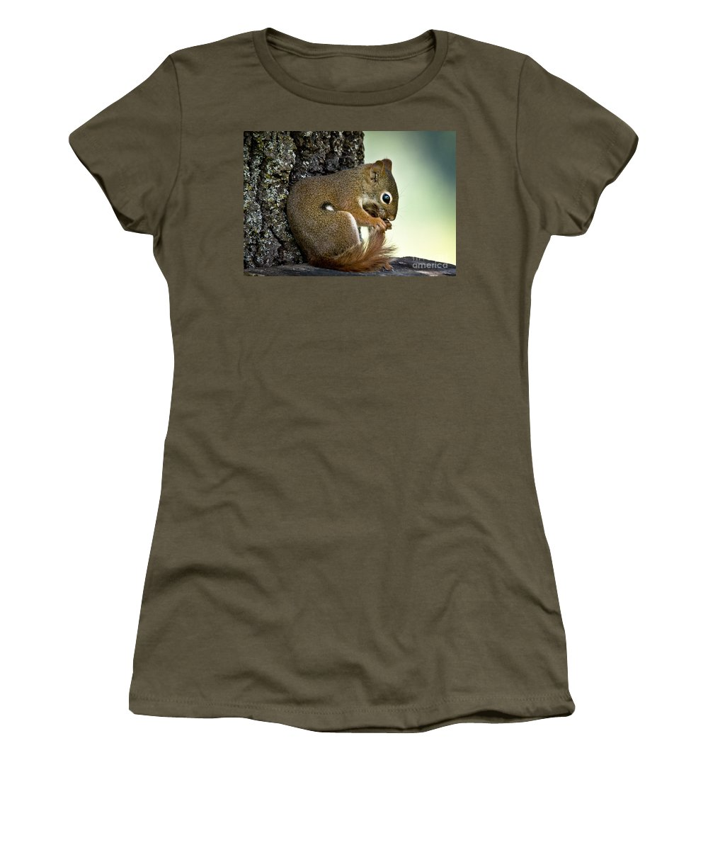 Squirrel Women's T-Shirt featuring the photograph Bath Time by Cheryl Baxter