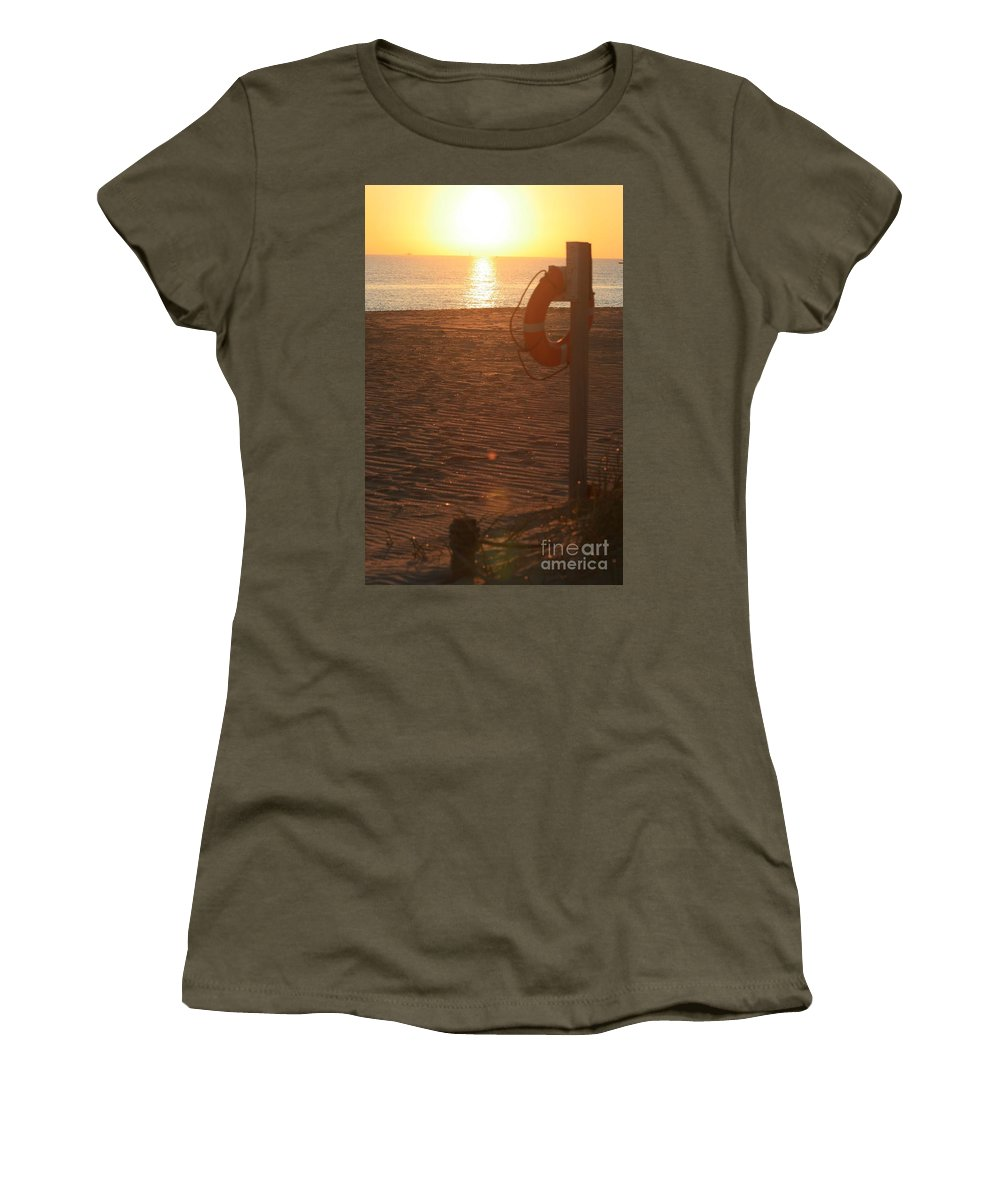 Beach Women's T-Shirt (Athletic Fit) featuring the photograph Beach At Sunset by Nadine Rippelmeyer