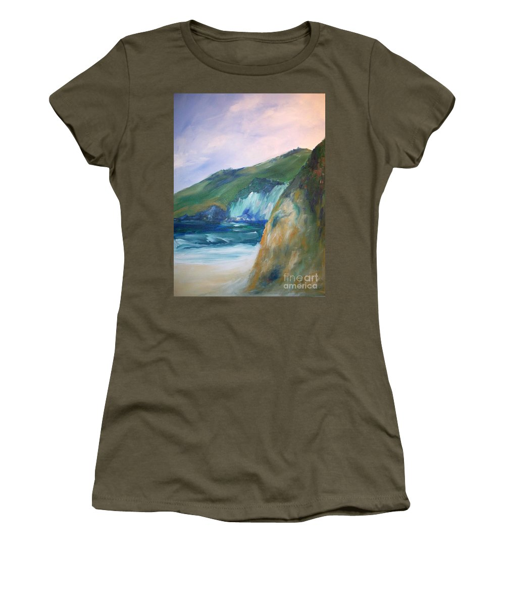 California Coast Women's T-Shirt (Athletic Fit) featuring the painting Beach California by Eric Schiabor