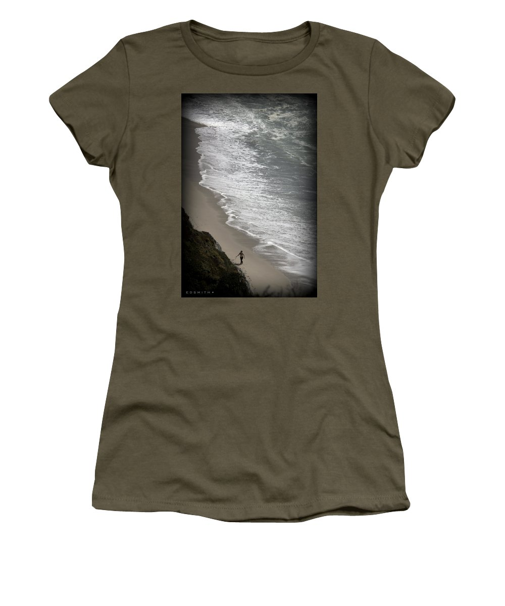Beach Comber Women's T-Shirt featuring the photograph Beach Comber by Ed Smith