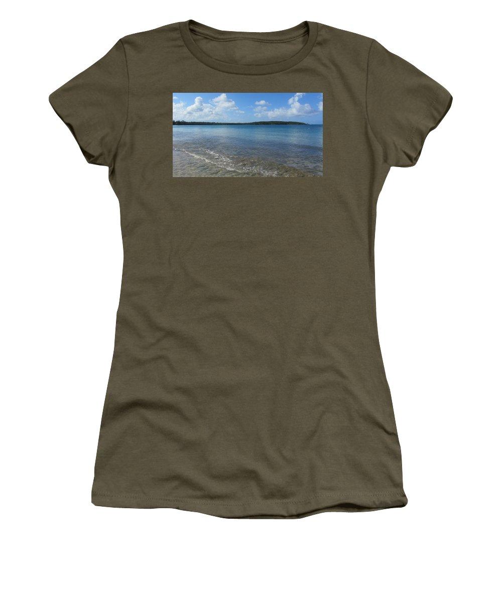 Beach Women's T-Shirt featuring the photograph Beach Waves Wide by Anita Burgermeister