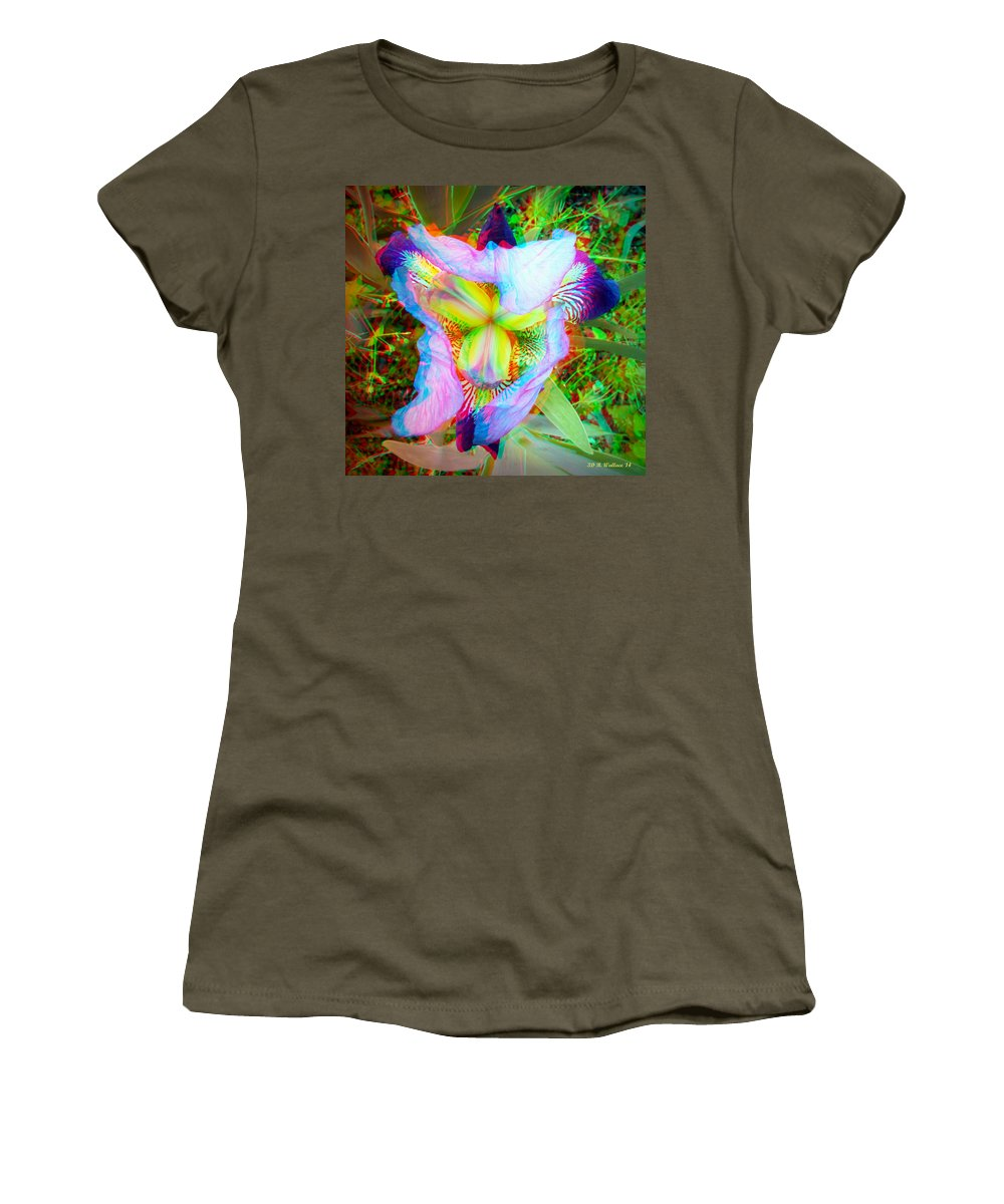 3d Women's T-Shirt featuring the photograph Bearded Iris Cultivar - Use Red-cyan 3d Glasses by Brian Wallace