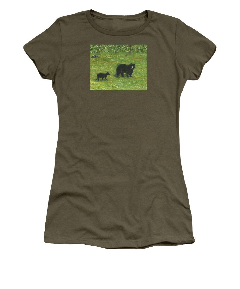 Bears Women's T-Shirt featuring the painting Bears by Lucinda VanVleck