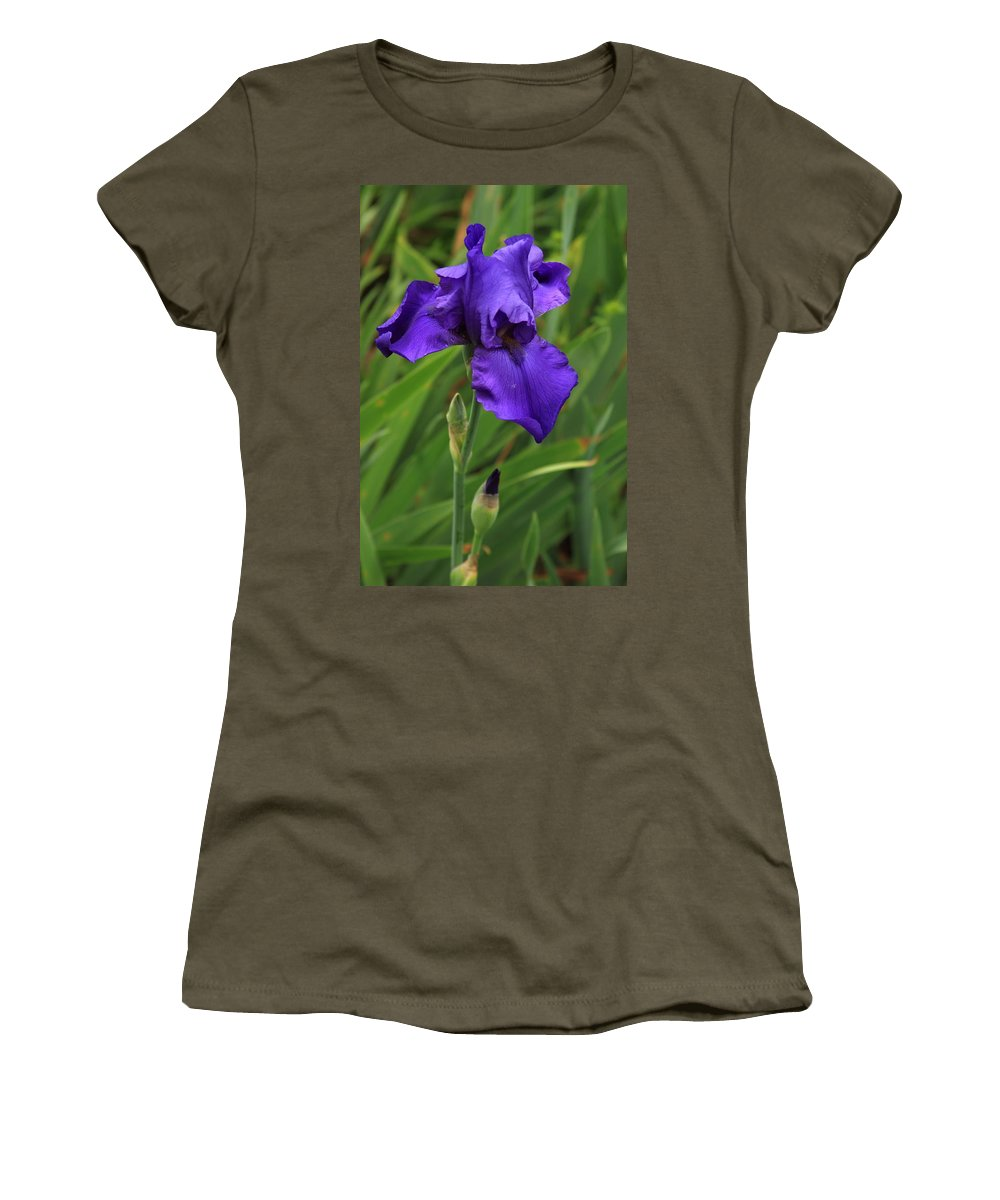 Reid Callaway Purple Iris Flower Women's T-Shirt featuring the photograph Beautiful Purple Iris Flower Art by Reid Callaway