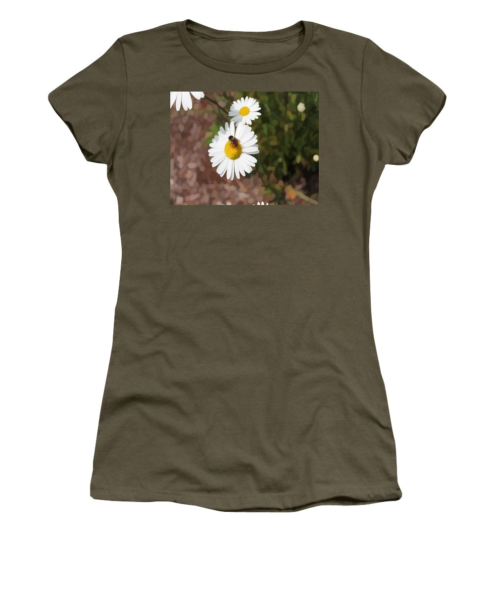 Bee Women's T-Shirt featuring the digital art Bee On A Daisy by Cathy Anderson