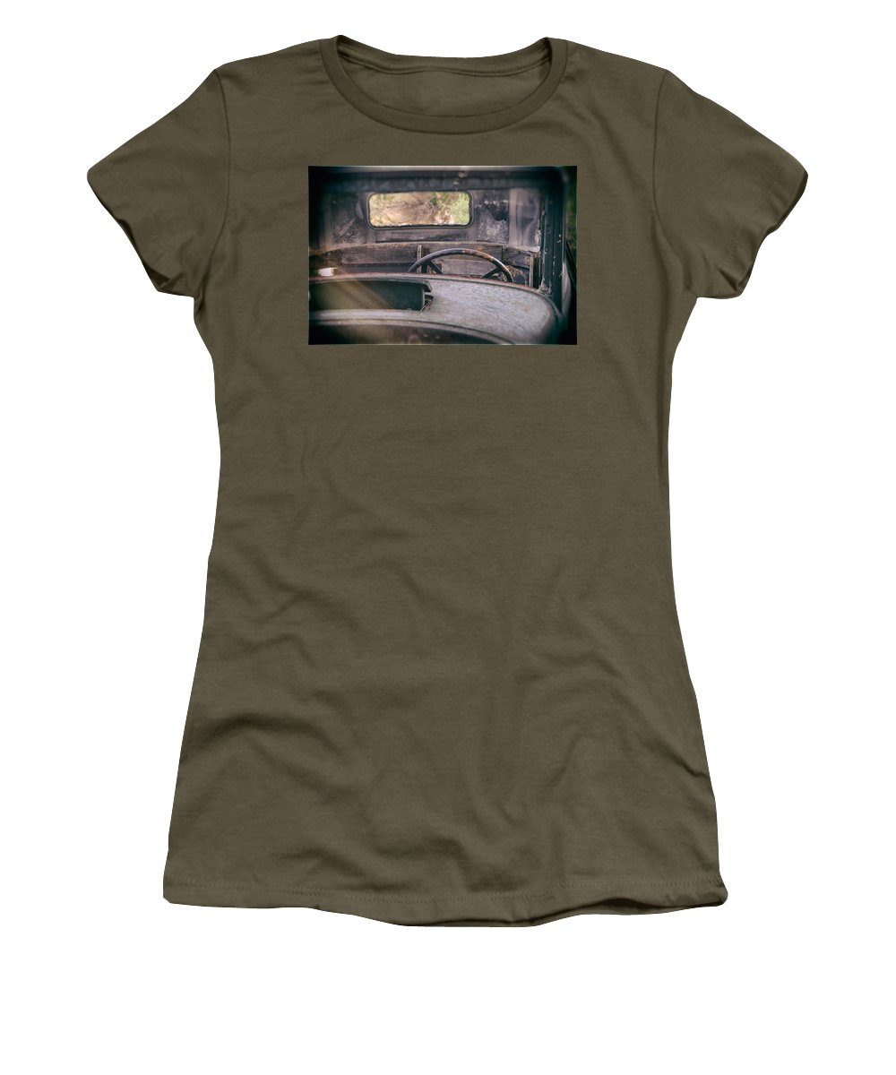 Abandoned Women's T-Shirt featuring the photograph Behind The Wheel by Peter Tellone