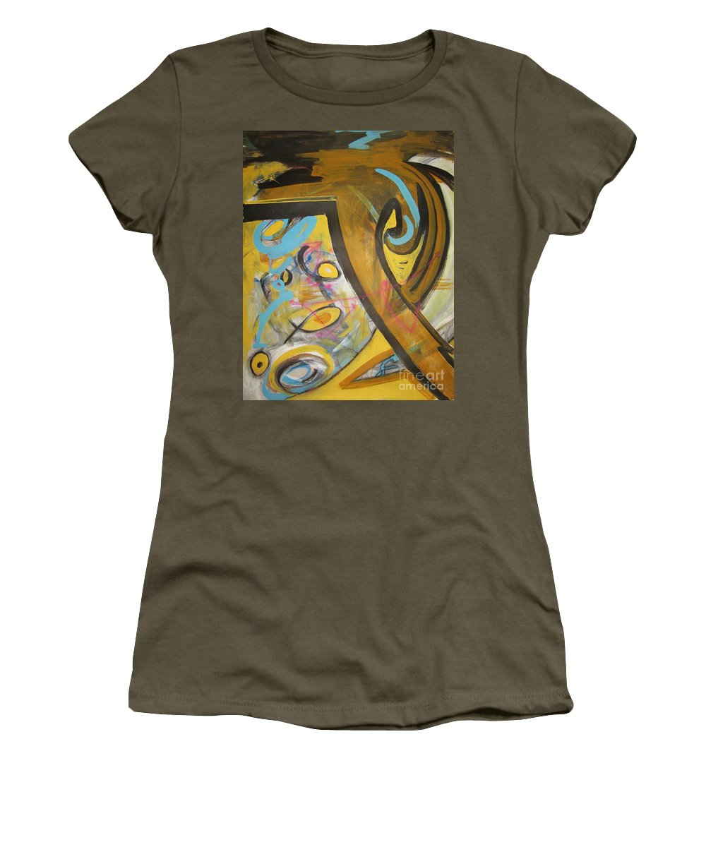 Abstract Women's T-Shirt (Athletic Fit) featuring the painting Being Easy Original Abstract Colorful Figure Painting For Sale Yellow Umber Blue Pink by Seon-Jeong Kim