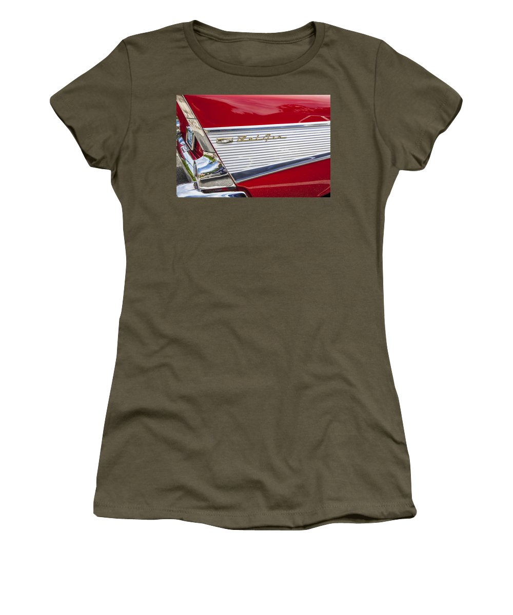 1957 Chevy Women's T-Shirt featuring the photograph Bel Air Beauty by Rich Franco