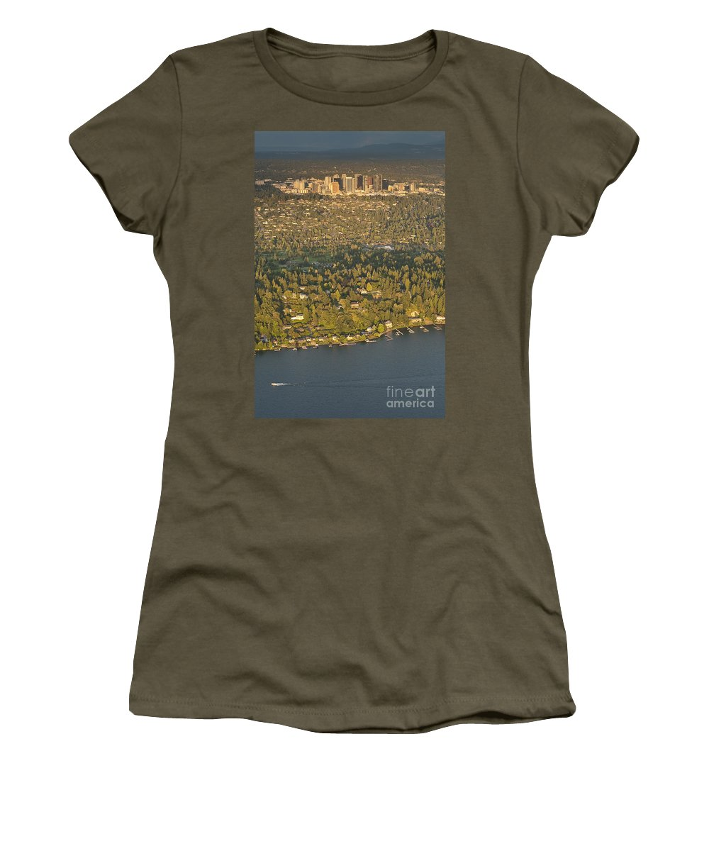 Bellevue Skyline Women's T-Shirt featuring the photograph Bellvue Skyline At Sunset by Jim Corwin