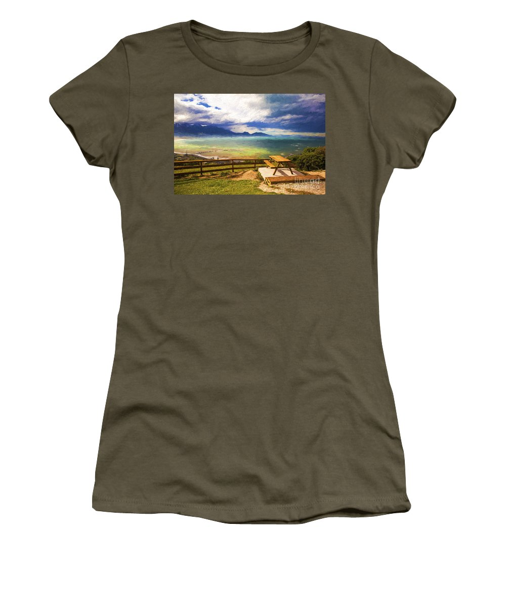 Kaikora Women's T-Shirt featuring the photograph Bench At Kaikora With Approaching Storm by Sheila Smart Fine Art Photography