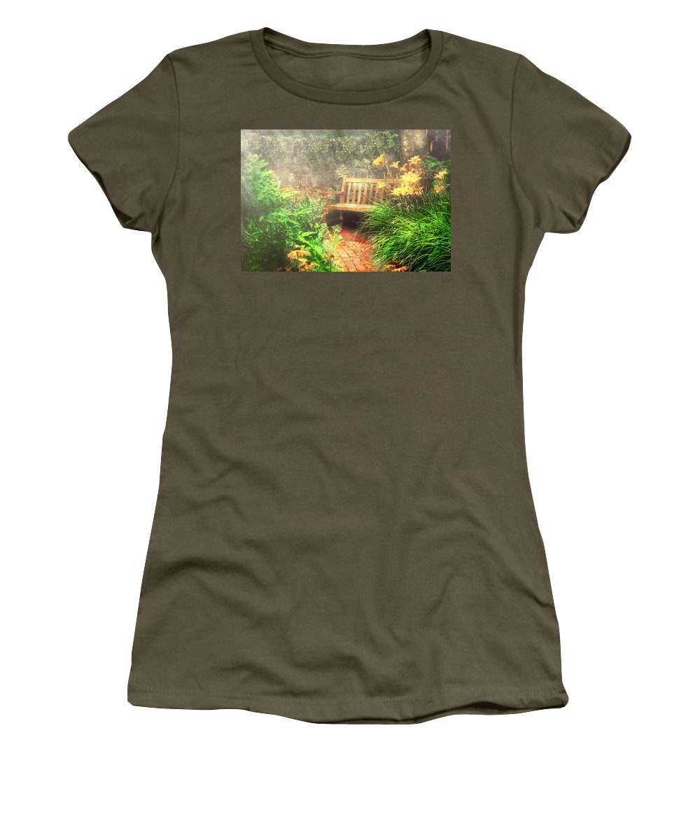 Savad Women's T-Shirt featuring the photograph Bench - Privacy by Mike Savad
