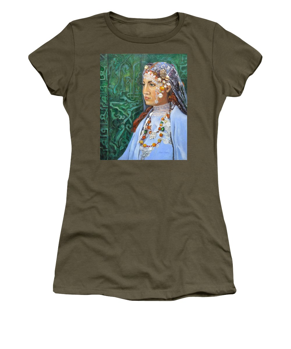 Berber Woman Women's T-Shirt featuring the painting Berber Woman by Portraits By NC