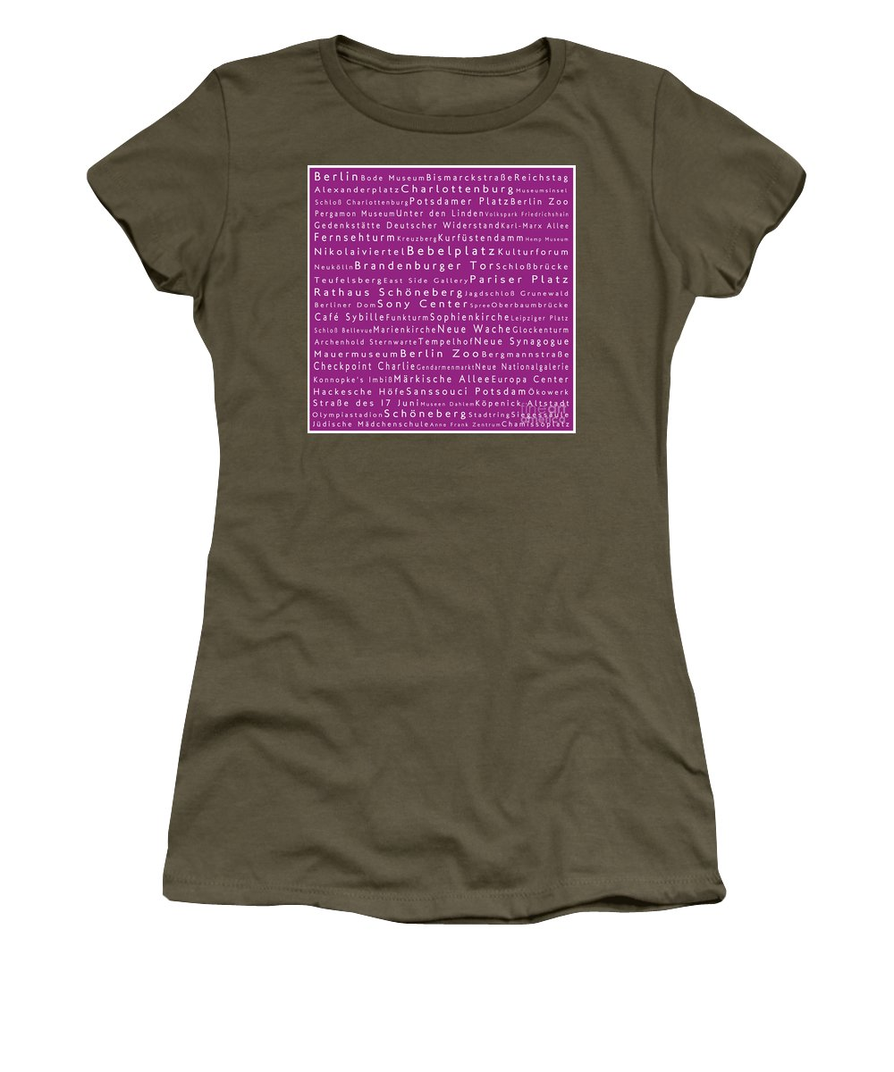 City Women's T-Shirt featuring the digital art Berlin In Words Pink by Sabine Jacobs