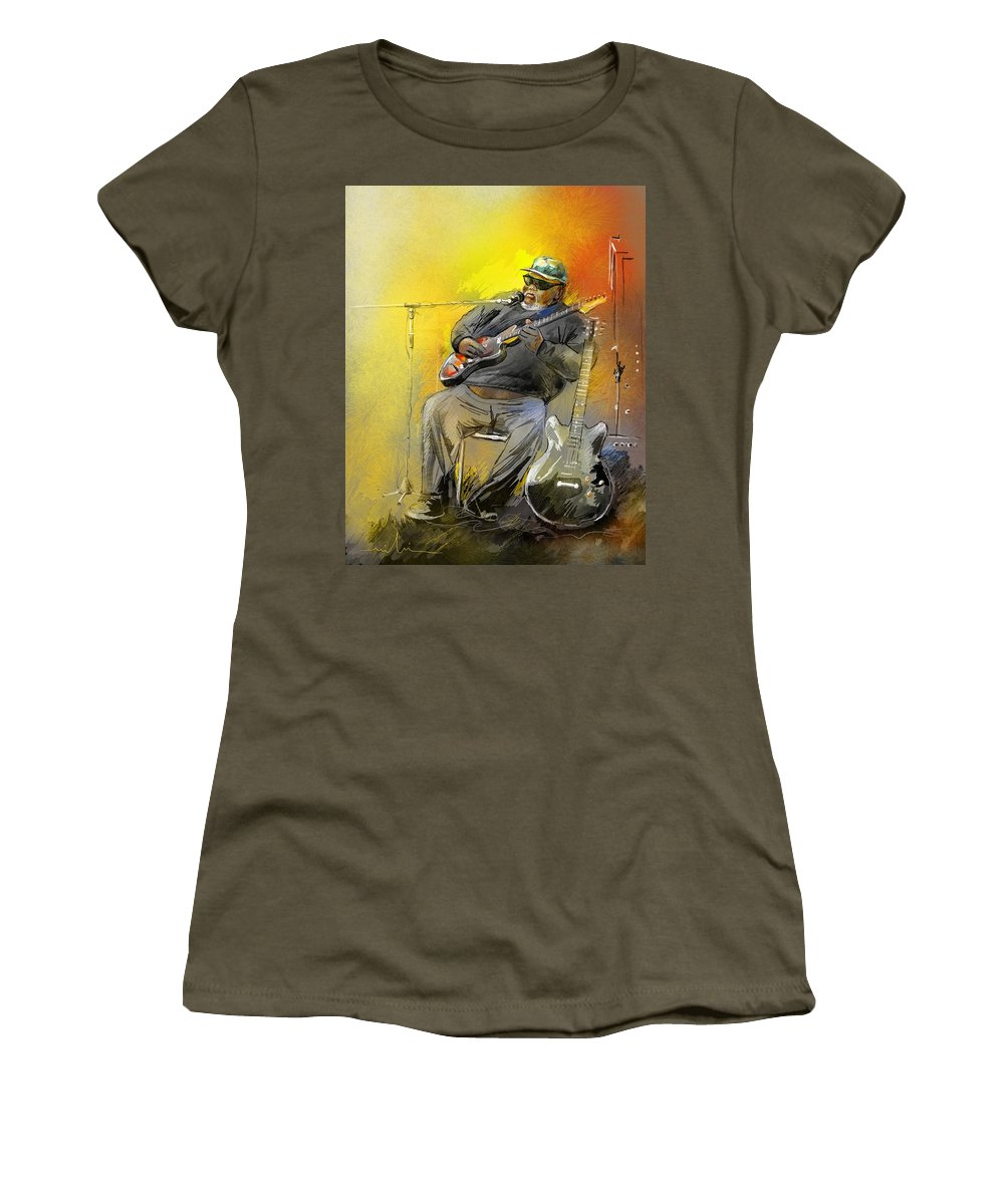 Blues Women's T-Shirt (Athletic Fit) featuring the painting Big Jerry In Memphis by Miki De Goodaboom