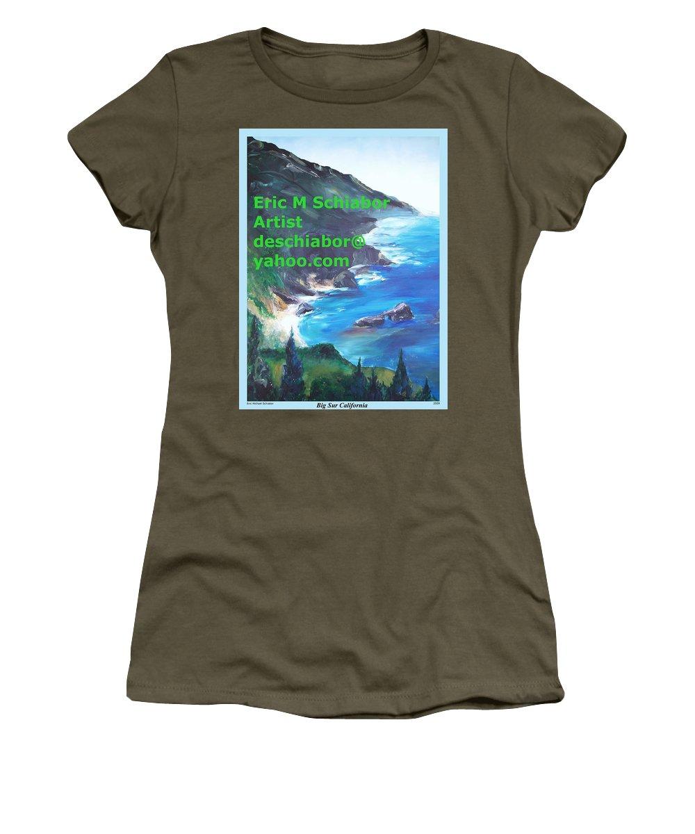 Big Sur Women's T-Shirt featuring the painting Big Sur Califorina by Eric Schiabor