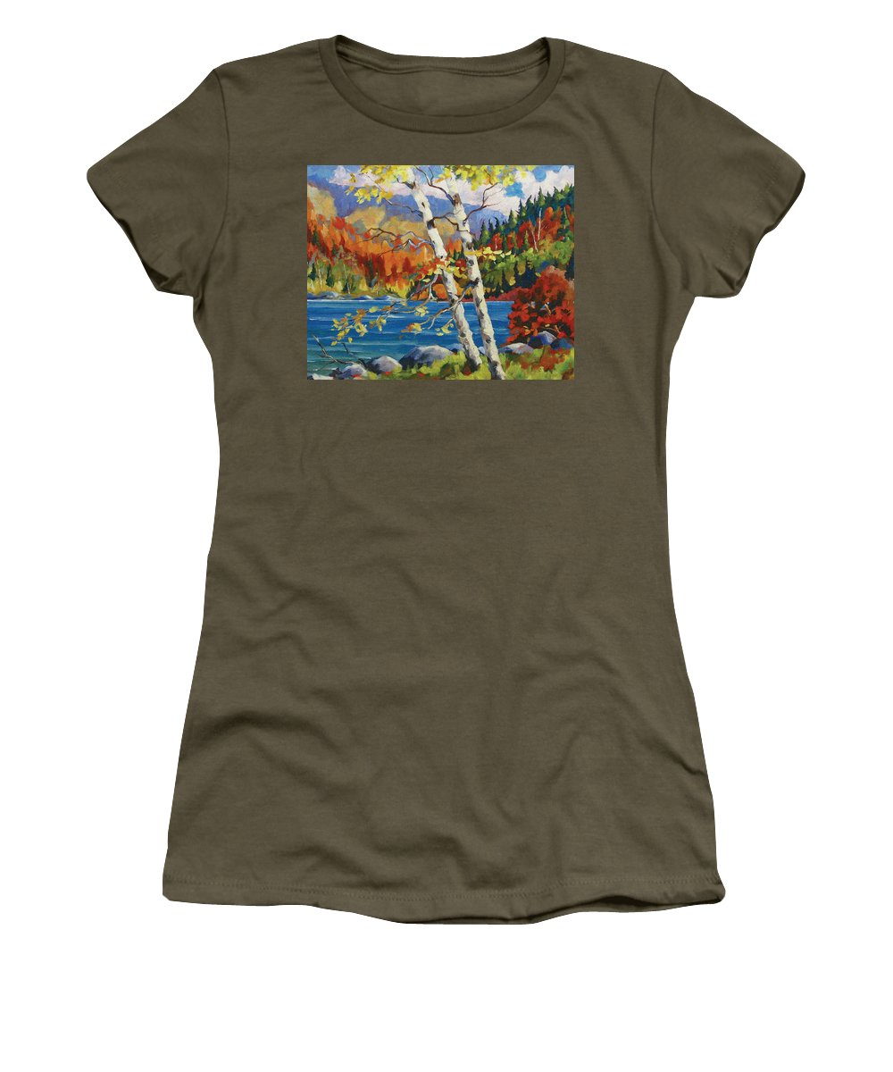 Art Women's T-Shirt (Athletic Fit) featuring the painting Birches By The Lake by Richard T Pranke