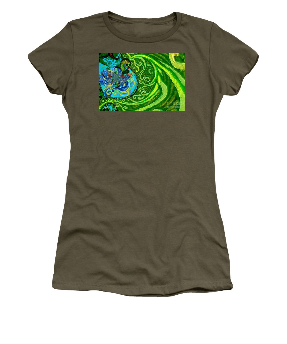 Bird Women's T-Shirt (Athletic Fit) featuring the painting Bird Song Swirl by Genevieve Esson