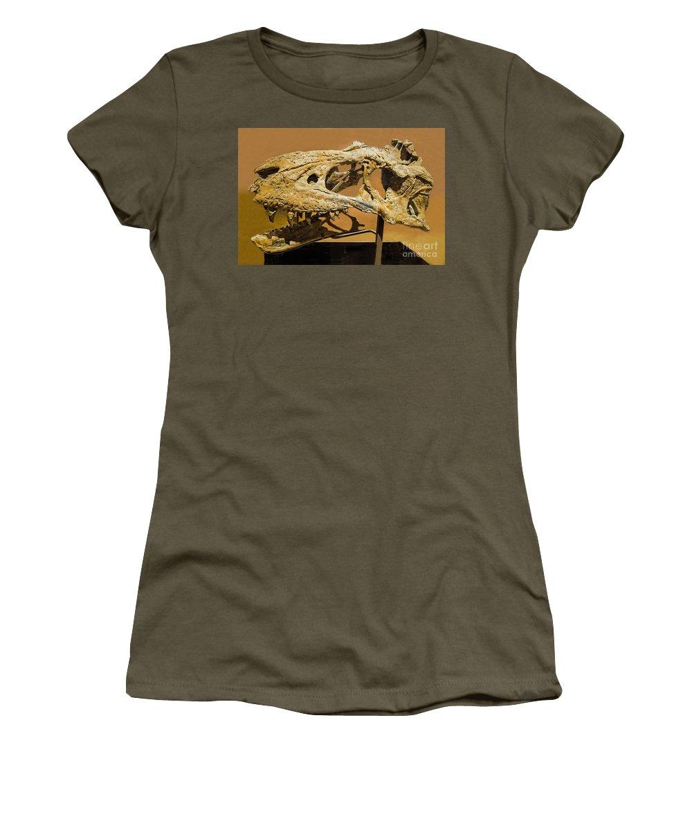 Nature Women's T-Shirt featuring the photograph Bistahieversor Dinosaur Skull Fossil by Millard H. Sharp