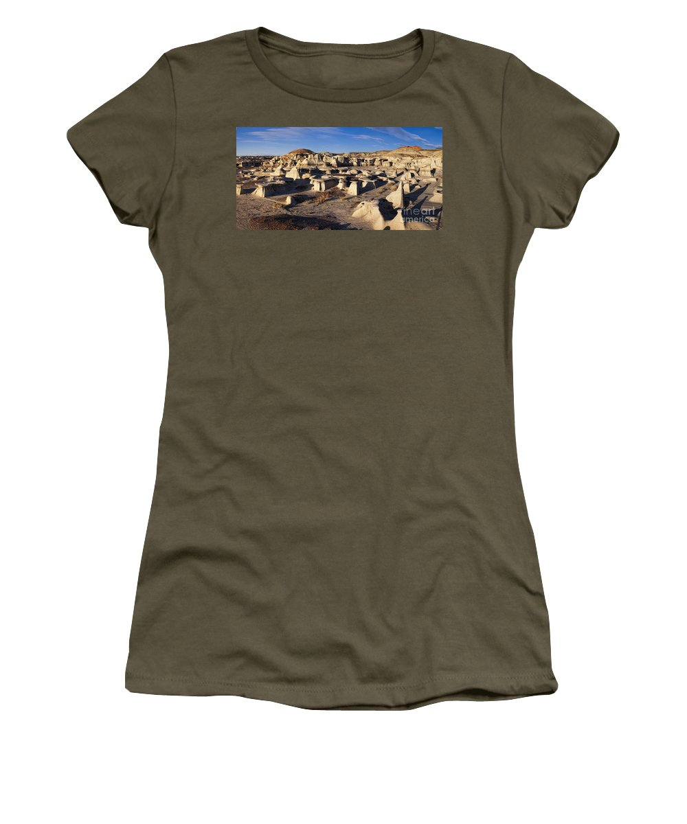 Bisti Badlands Women's T-Shirt featuring the photograph Bisti Badlands Pano by Timothy Hacker