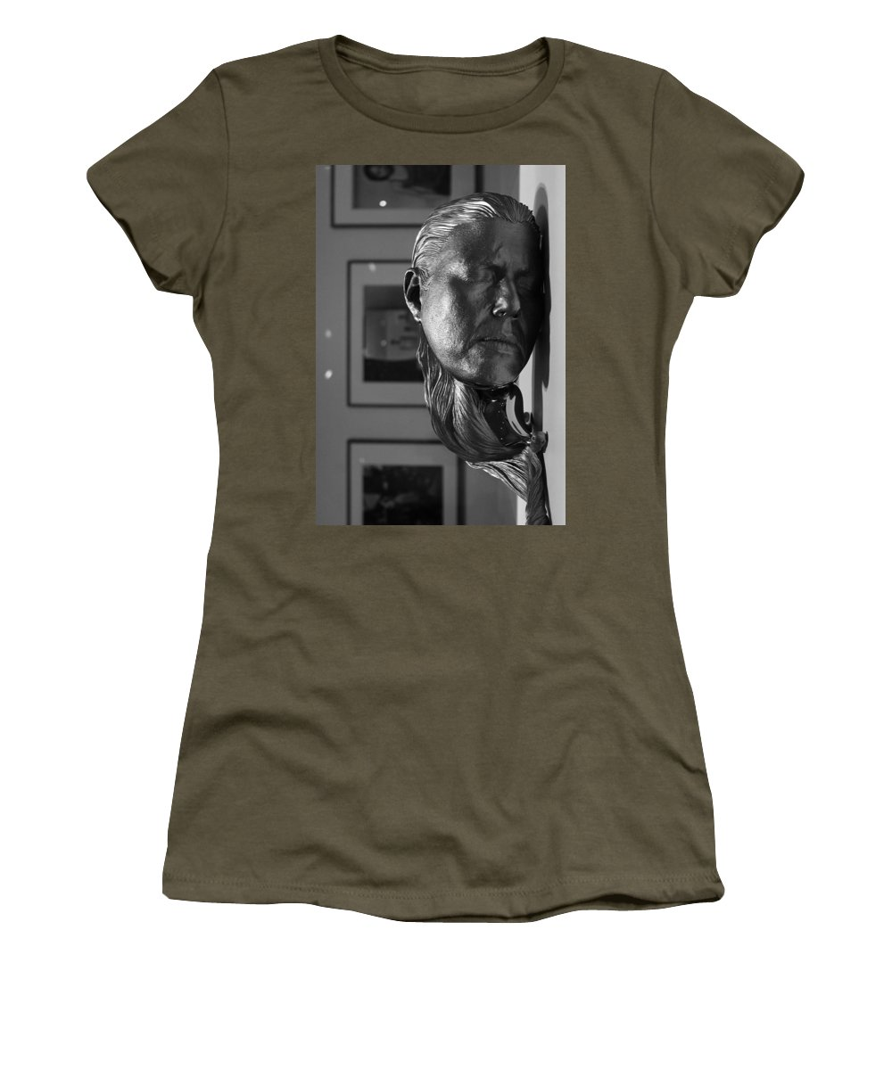 Black & White Women's T-Shirt featuring the photograph Black And White Mask by Michael Saunders