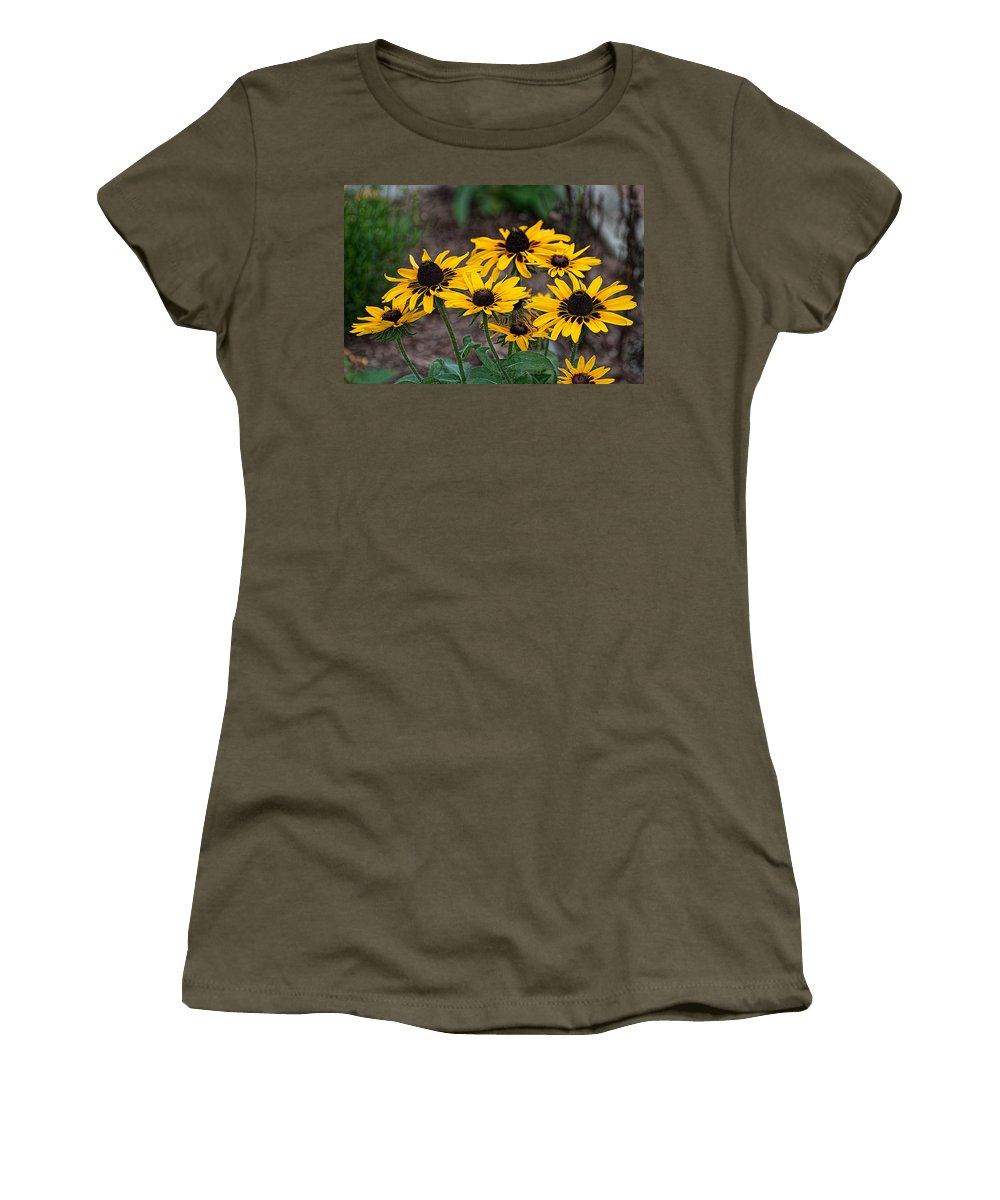 Black Women's T-Shirt featuring the photograph Black Eyed Susans by Photos By Cassandra