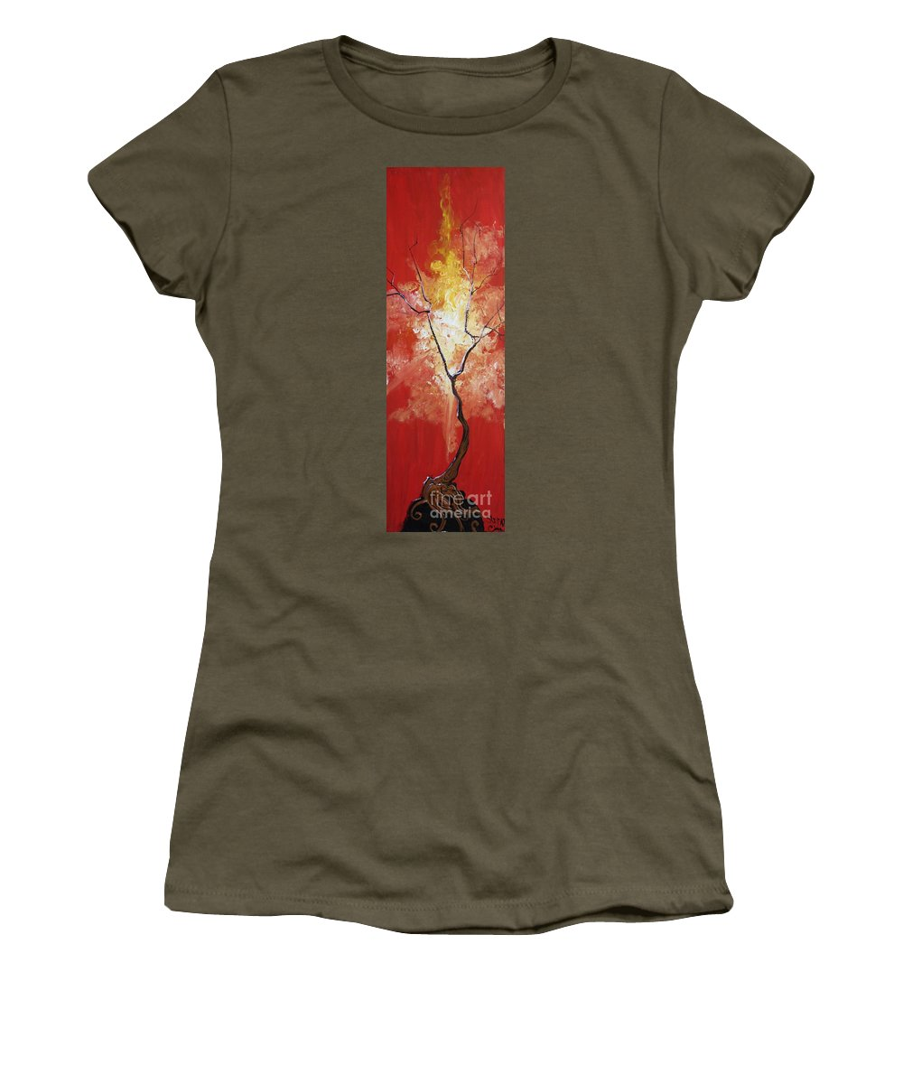 Fantasy Women's T-Shirt featuring the painting Blaze My Soul by Stefan Duncan