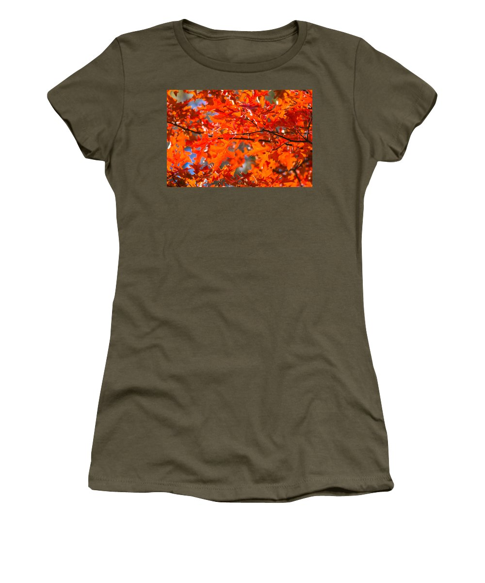 Abstract Women's T-Shirt featuring the photograph Blazing Maple by Alexander Senin