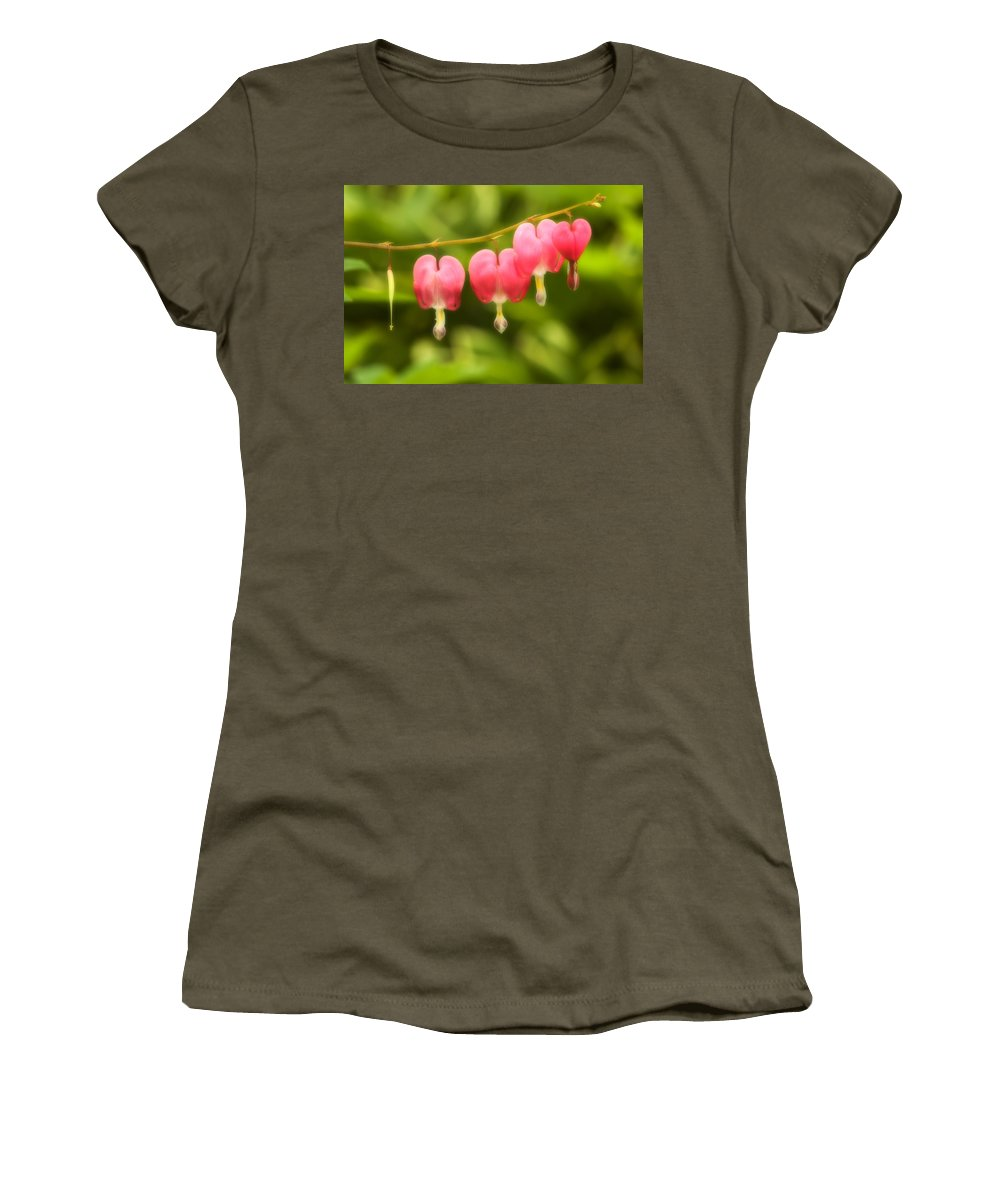 Flower Women's T-Shirt (Athletic Fit) featuring the photograph Bleeding Hearts by Sebastian Musial
