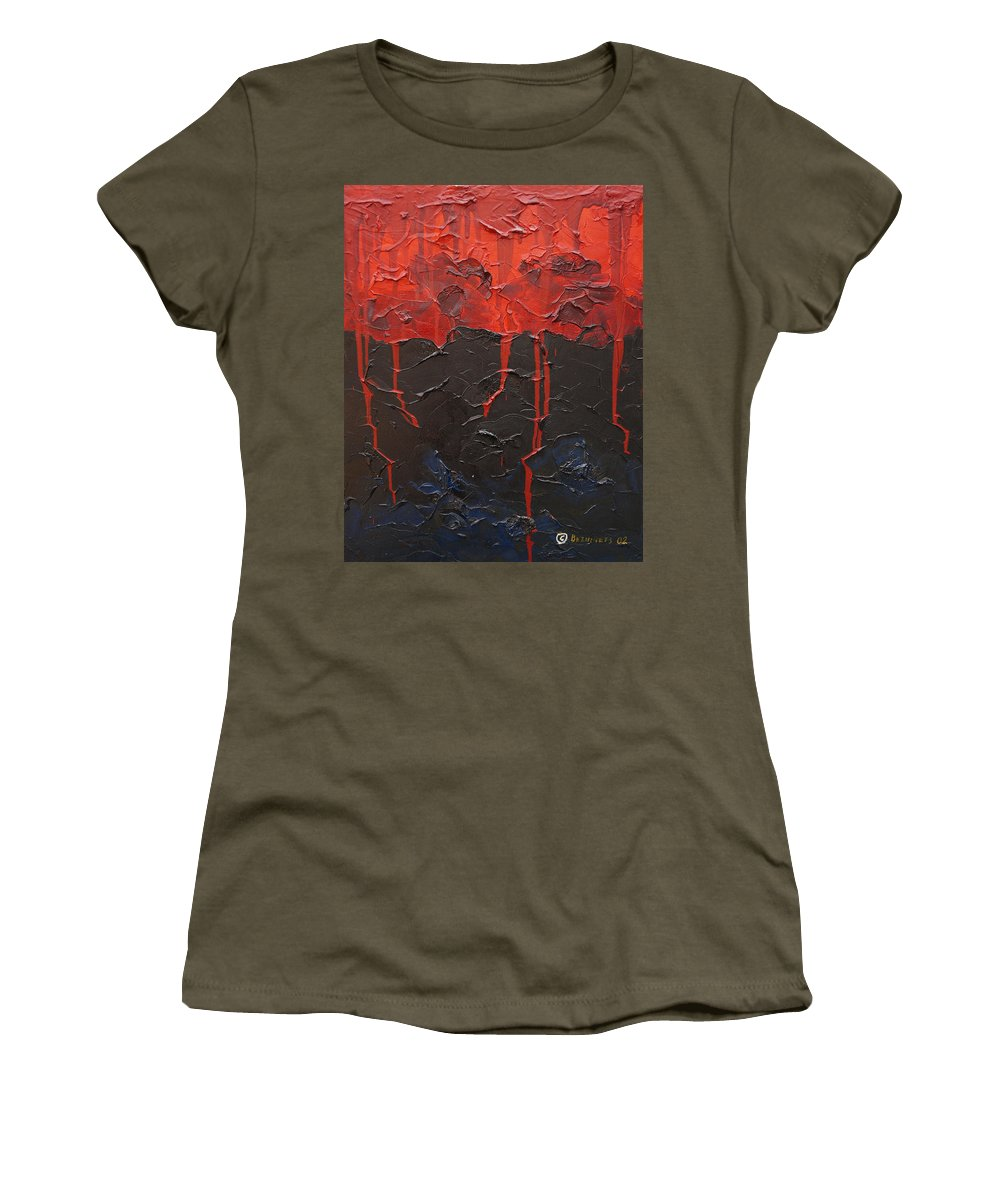Fantasy Women's T-Shirt (Athletic Fit) featuring the painting Bleeding Sky by Sergey Bezhinets