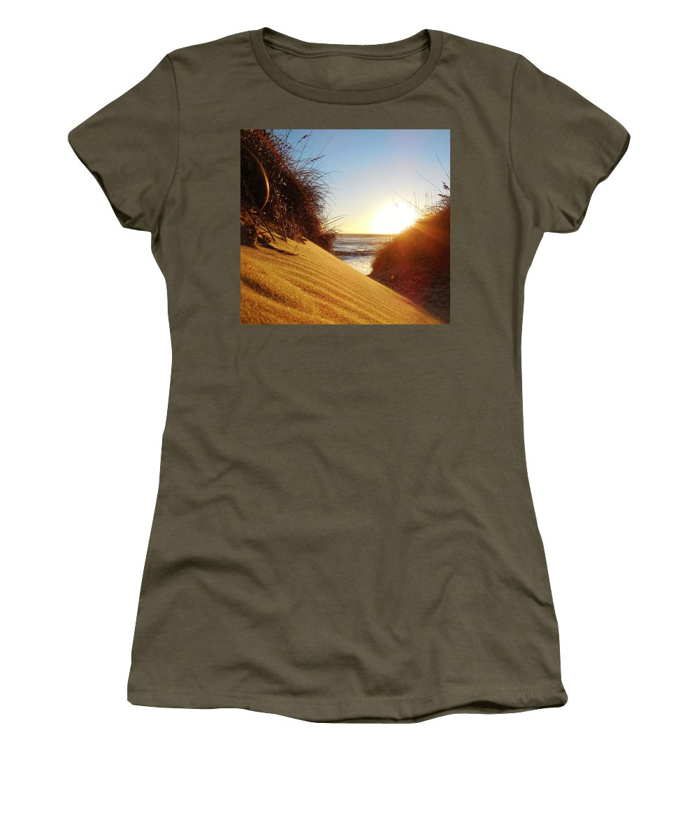 Mark Lemmon Cape Hatteras Nc The Outer Banks Photographer Subjects From Sunrise Women's T-Shirt featuring the photograph Blowing Sand Dune 12 11/03 by Mark Lemmon