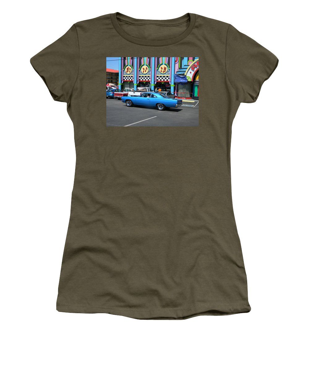 Blue Women's T-Shirt featuring the photograph Blue Car With Colorful Background by Mary Koval