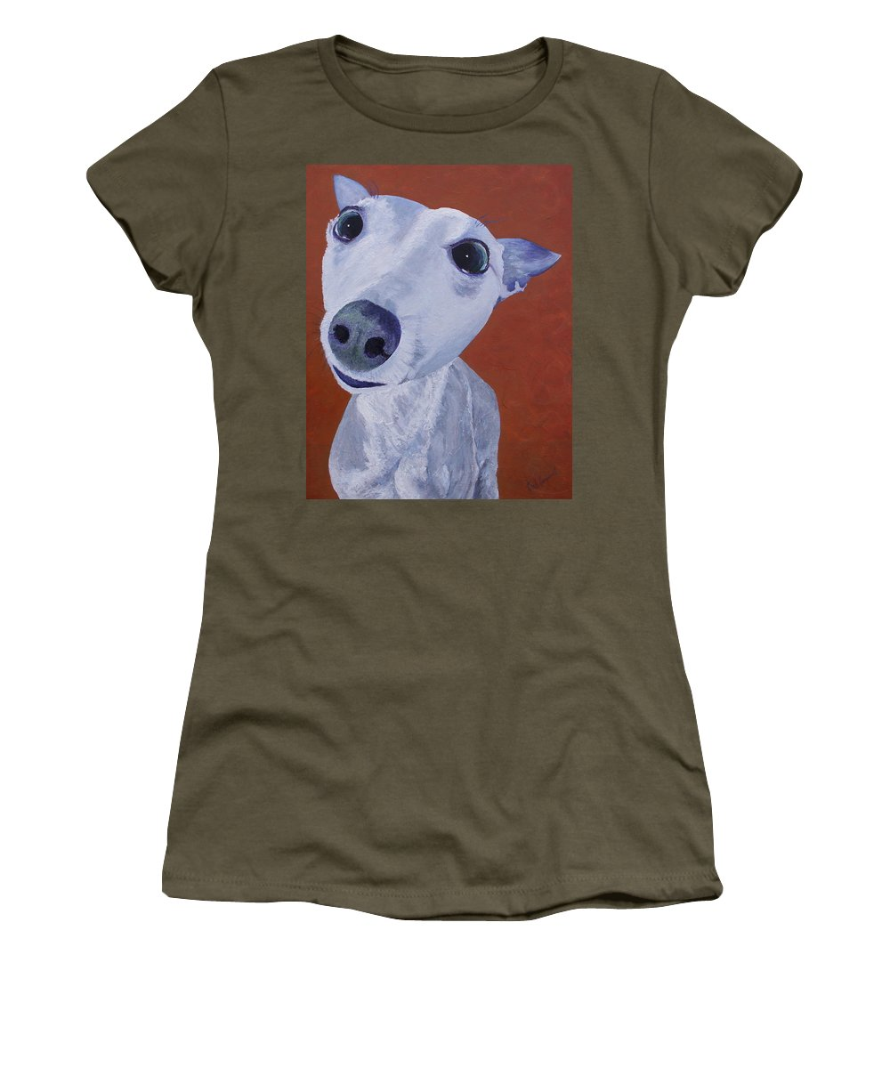 Dogs Women's T-Shirt featuring the painting Blue Dog by Trish Campbell
