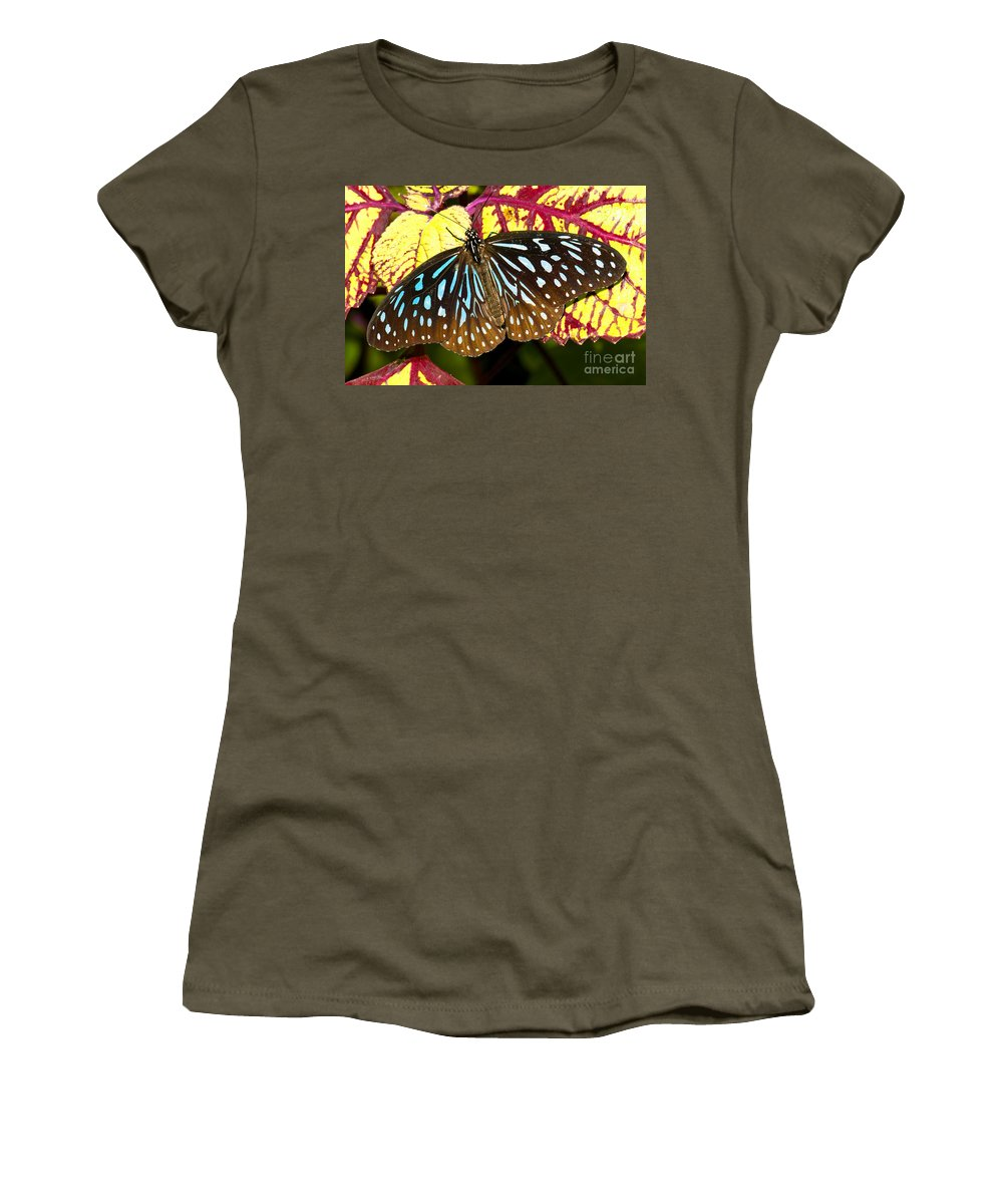 Nature Women's T-Shirt featuring the photograph Blue Glassy Tiger Butterfly by Millard H. Sharp
