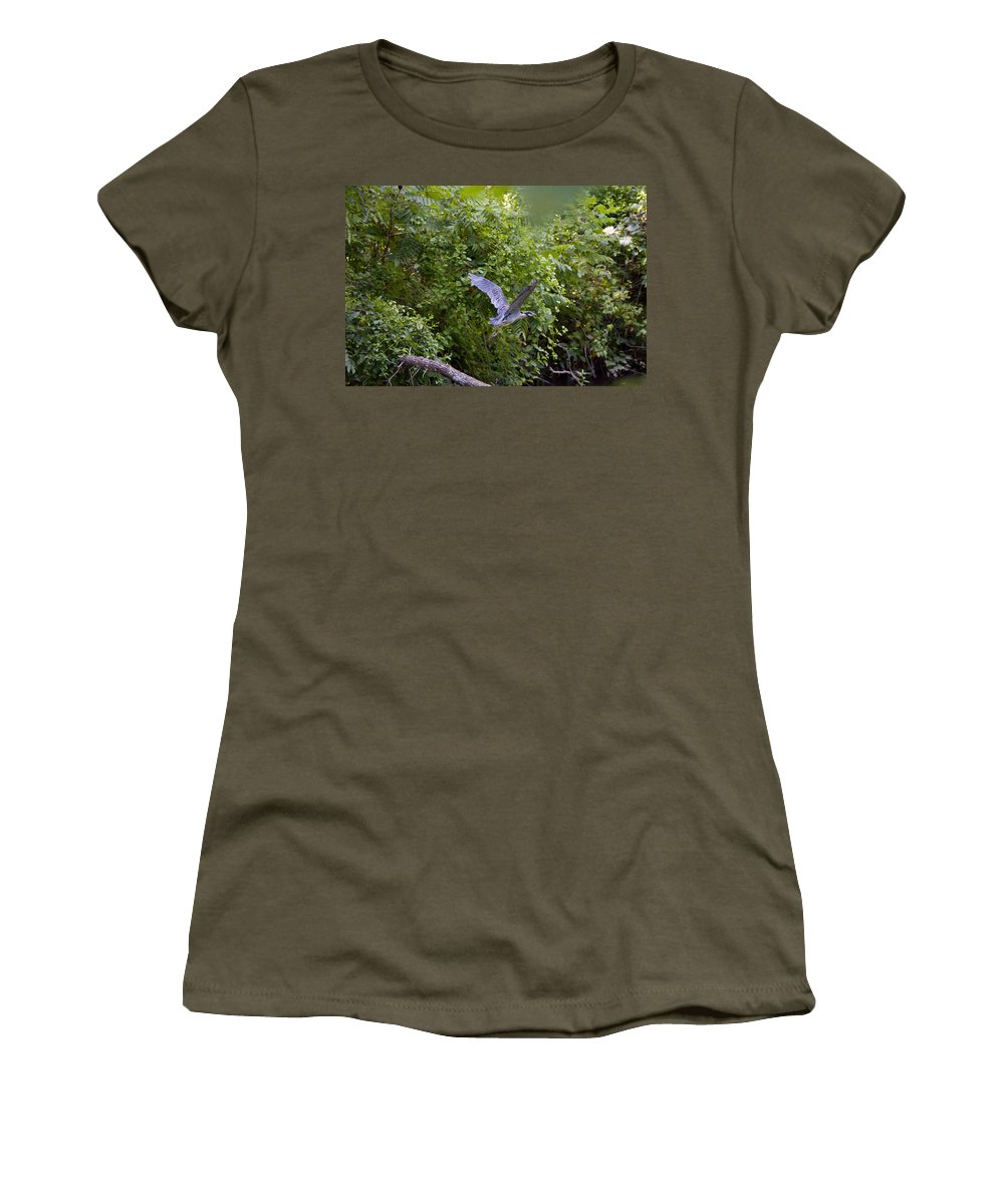 Great Blue Heron Photographs Women's T-Shirt featuring the photograph Blue Heron Journey I by Vernis Maxwell
