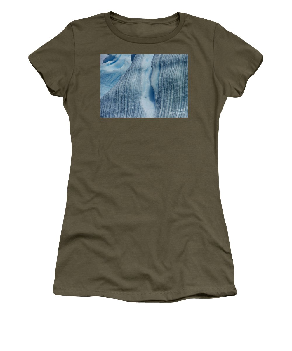 Festblues Women's T-Shirt featuring the photograph Blue Ice... by Nina Stavlund