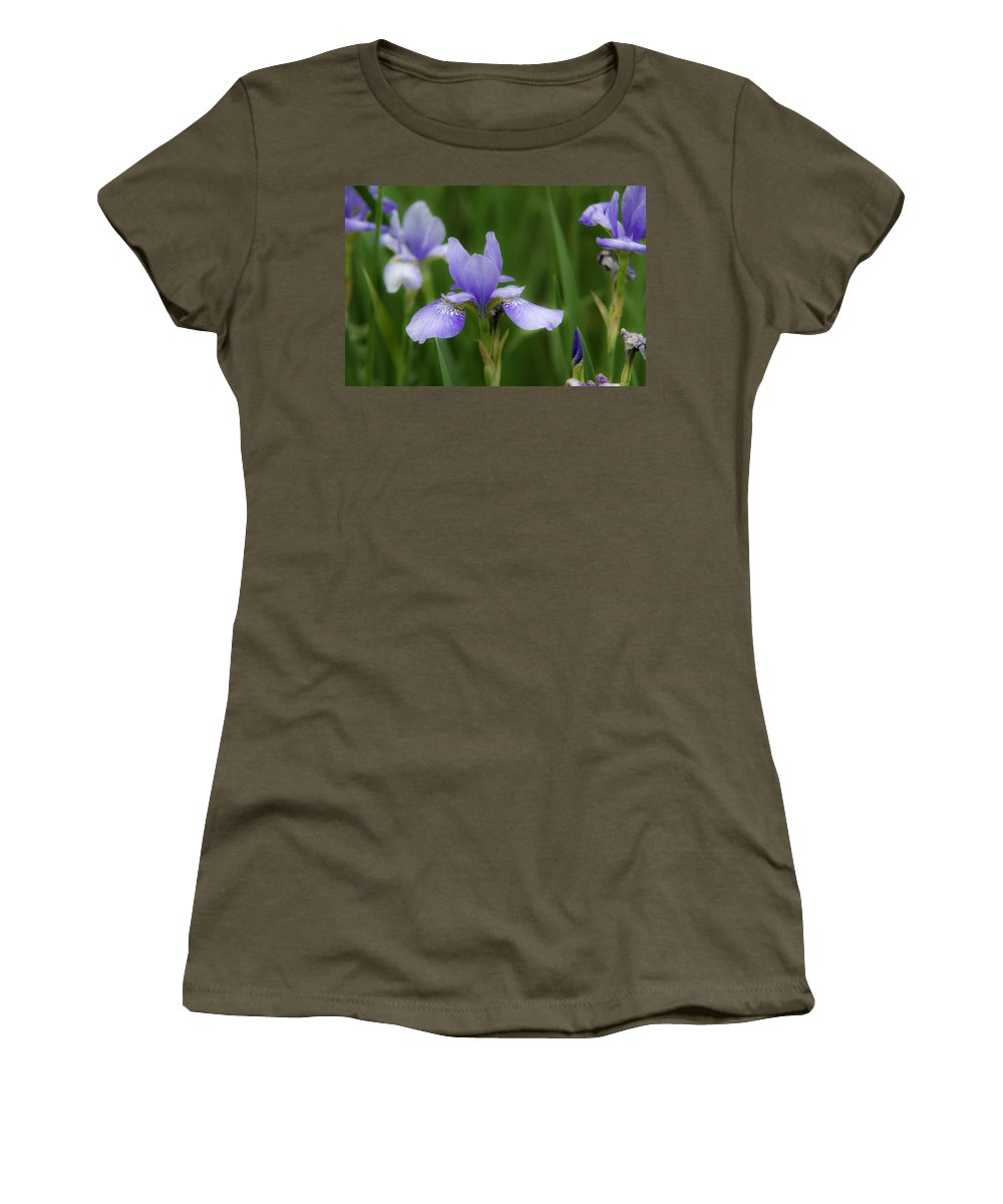 Iris Women's T-Shirt featuring the photograph Blue Iris by David Freuthal