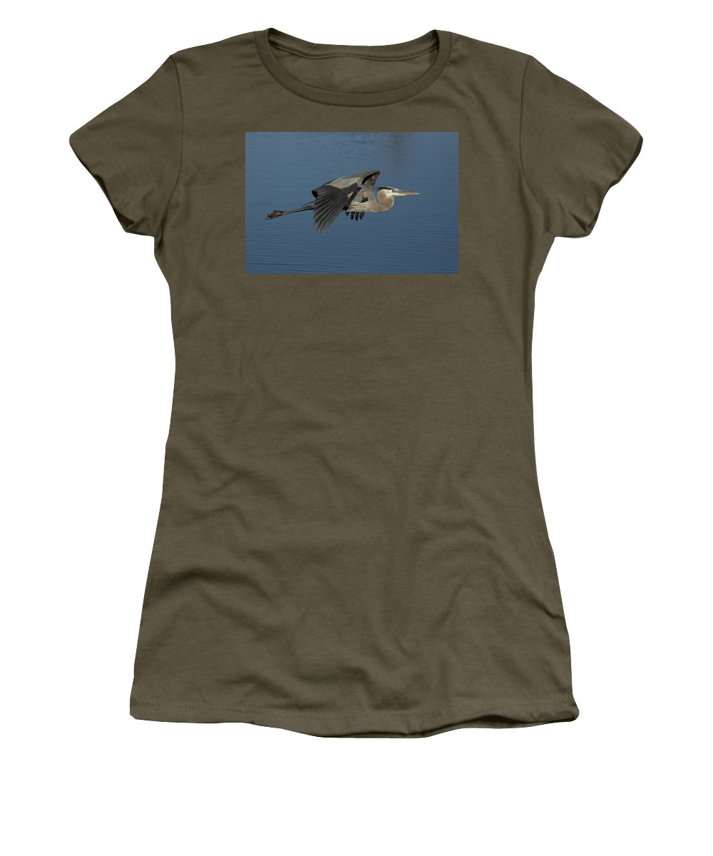 Blue Heron Women's T-Shirt featuring the photograph Blue Lou by Sandy Swanson