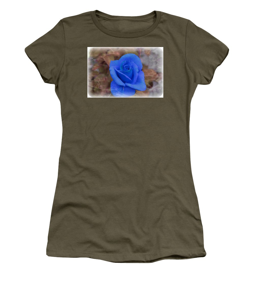 Floral Women's T-Shirt featuring the photograph Blue Rose by Tammy Garner