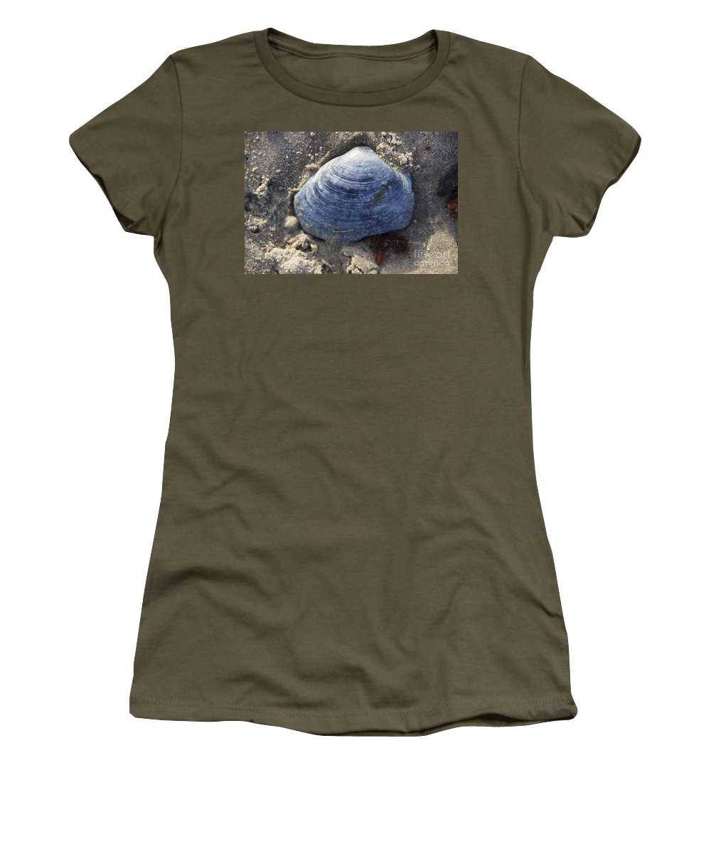 Blue Seashell Women's T-Shirt featuring the photograph Blue Shell by Michael Mooney