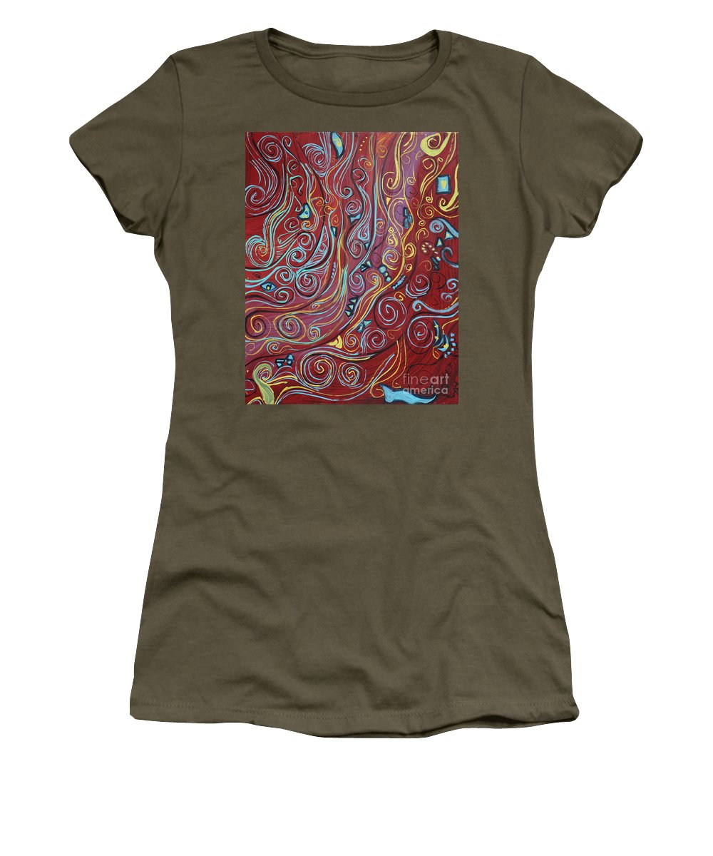 Squigglism Women's T-Shirt (Athletic Fit) featuring the painting Blue Squiggles by Stefan Duncan