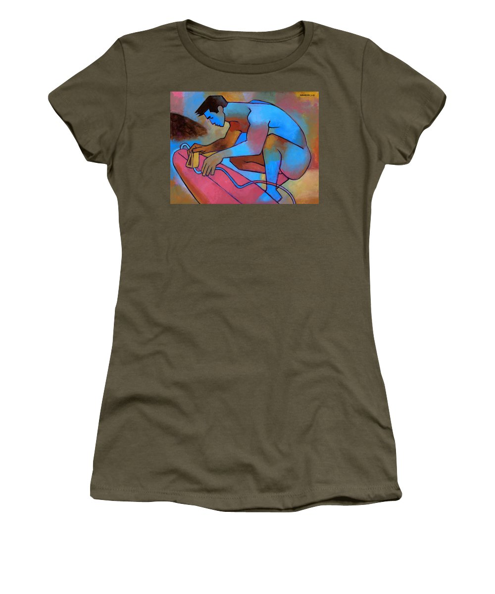 Male Nude Women's T-Shirt featuring the painting Blue Surfer 2 by Douglas Simonson