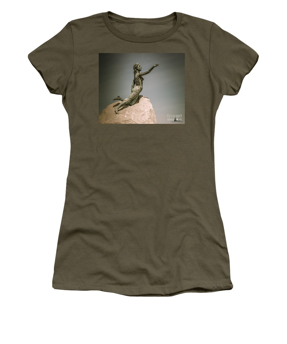 Blue Water Women's T-Shirt (Athletic Fit) featuring the photograph Blue Water Maiden by Grace Grogan