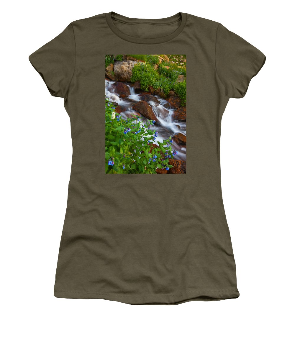Stream Women's T-Shirt (Athletic Fit) featuring the photograph Bluebell Creek by Darren White