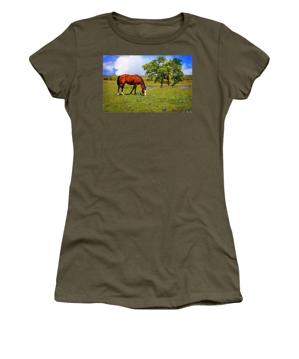Wildflowers Women's T-Shirt featuring the photograph Bluebonnet Trail Delight by Lynn Bauer