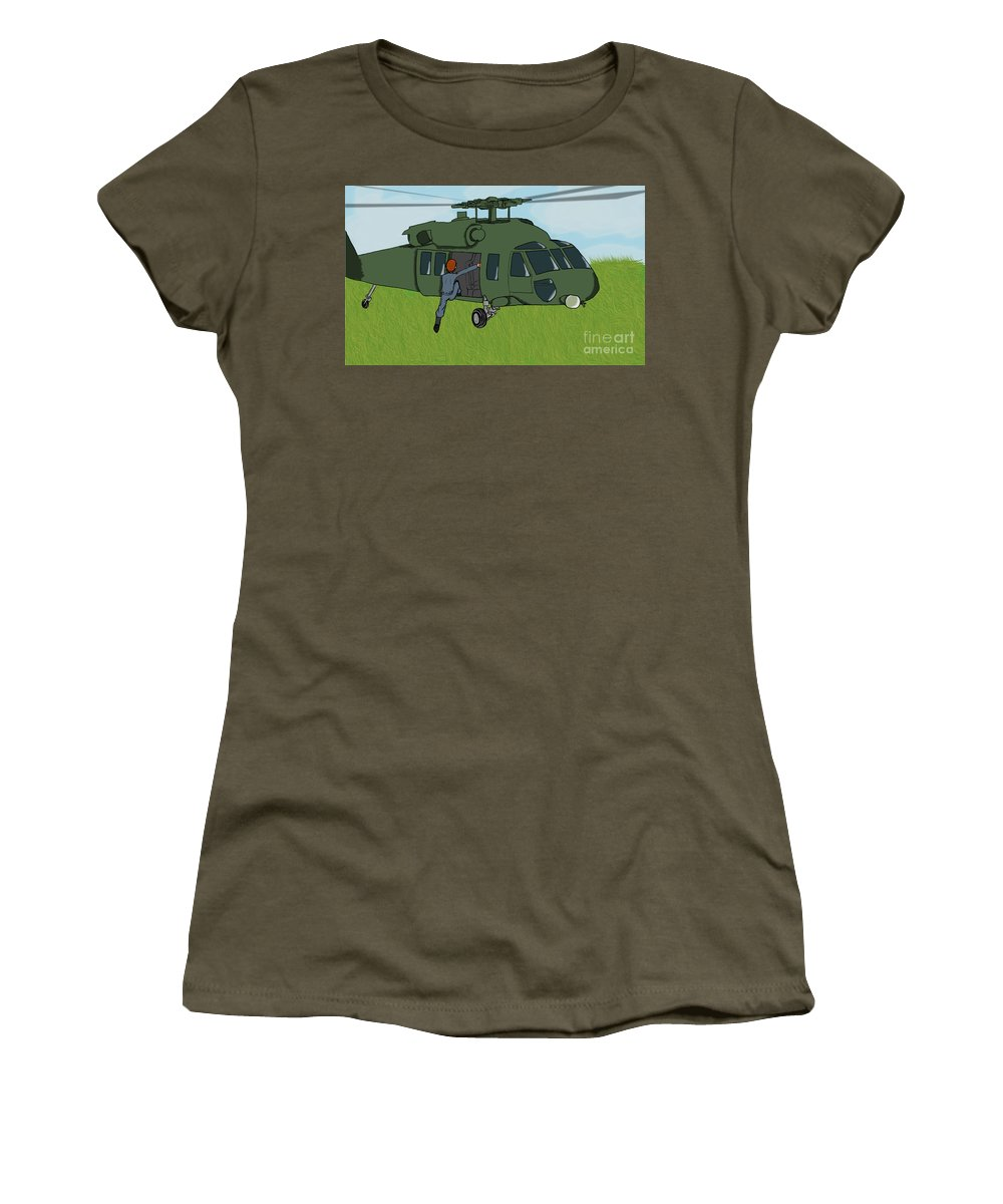 Helicopter Women's T-Shirt (Athletic Fit) featuring the digital art Boarding A Helicopter by Yael Rosen