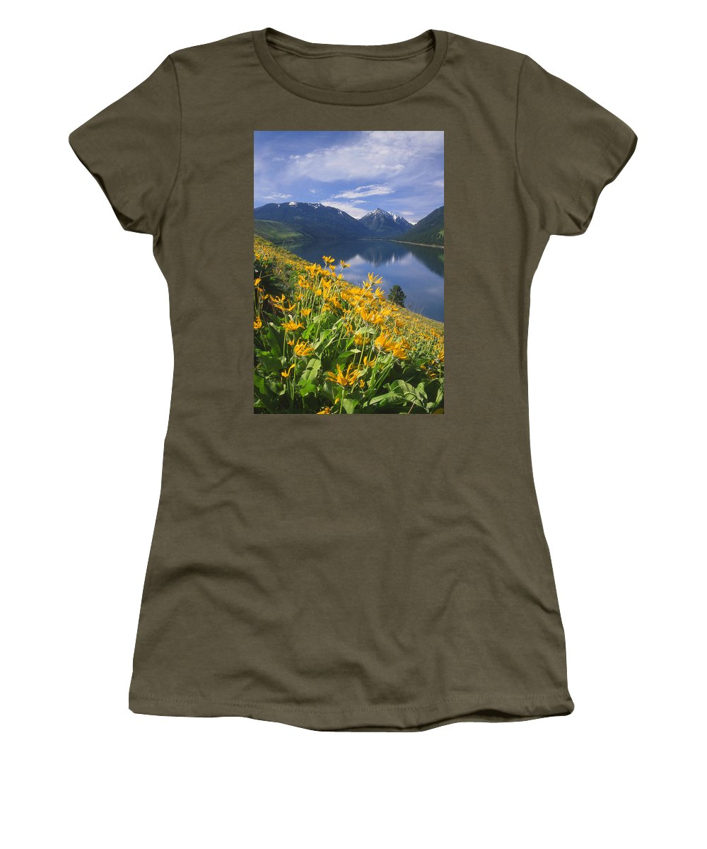 Bonneville Mountain Women's T-Shirt (Athletic Fit) featuring the photograph M-05921-bonneville Mountain Reflected In Wallow Lake by Ed Cooper Photography