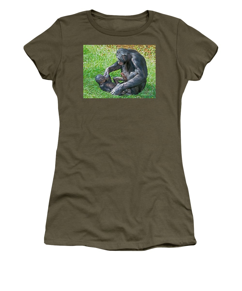 Bonobo Women's T-Shirt featuring the photograph Bonobo Adult Playing With Baby by Millard H. Sharp