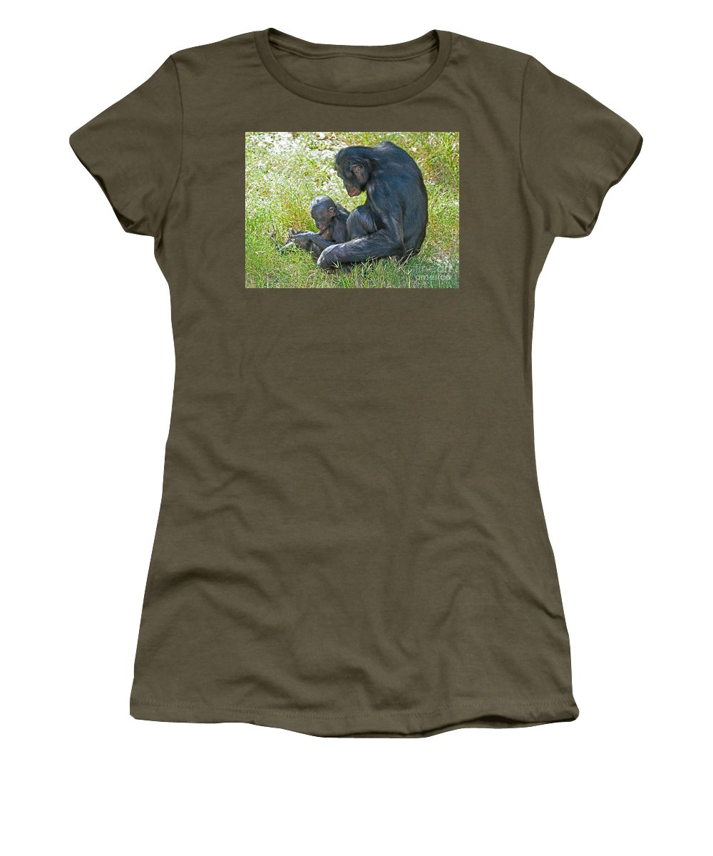 Bonobo Women's T-Shirt featuring the photograph Bonobo Mother And Baby by Millard H. Sharp