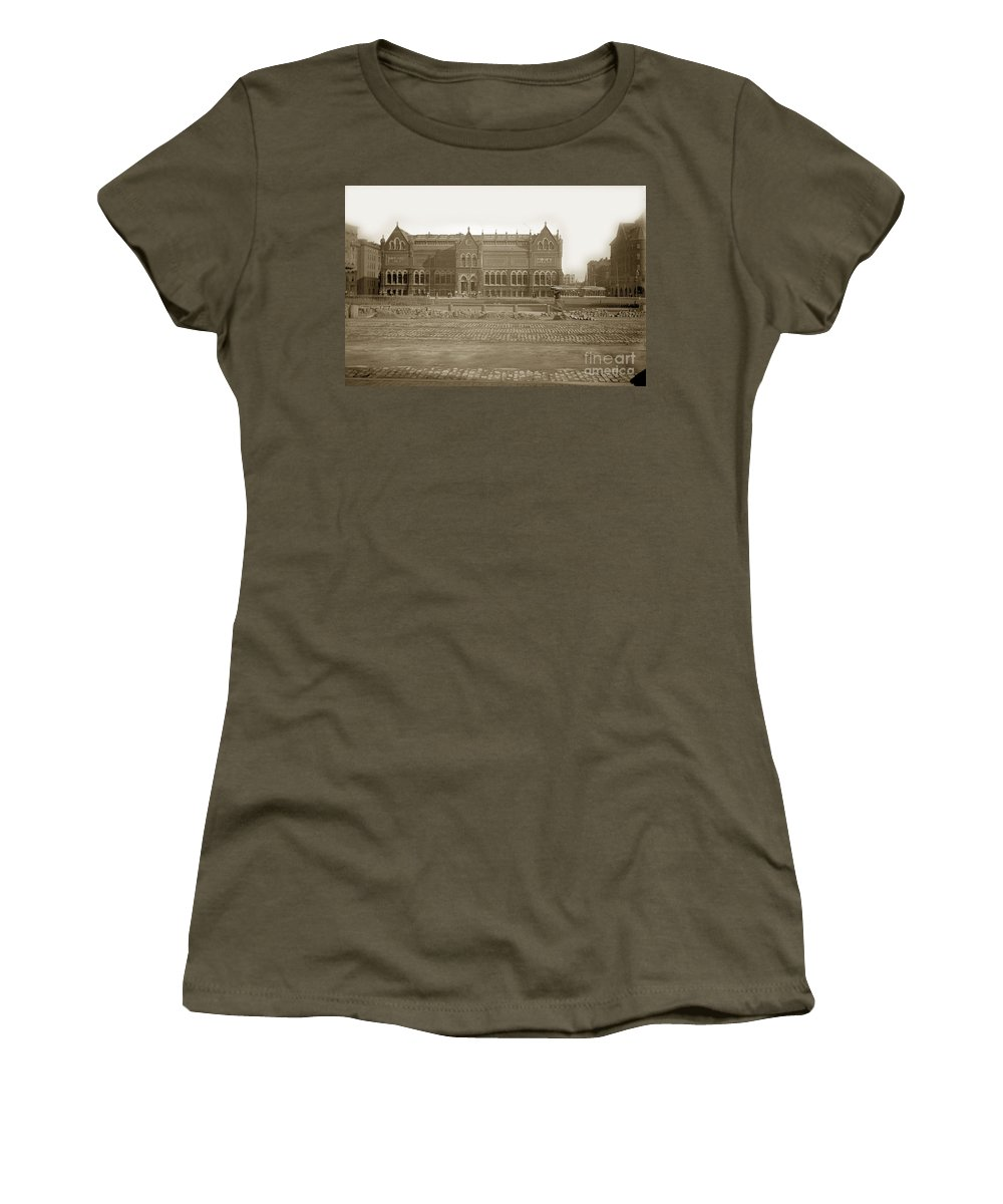 Huntington Ave. Women's T-Shirt featuring the photograph Boston Museum Of Fine Art On Copley Square Massachusetts Circa 1900 by California Views Archives Mr Pat Hathaway Archives
